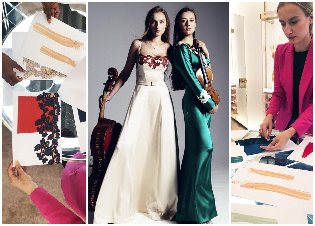 """Māsas Balanas un """"La Perla"""" tērpi tapšanas procesā."""