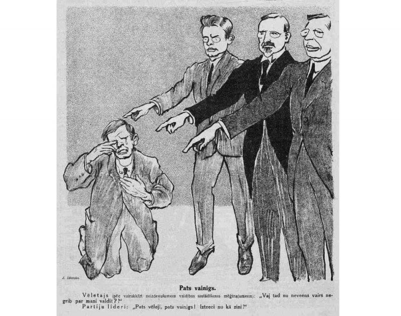 """Satīras žurnāla """"Svari"""" karikatūra par politisko situāciju 1922. gada decembra sākumā."""