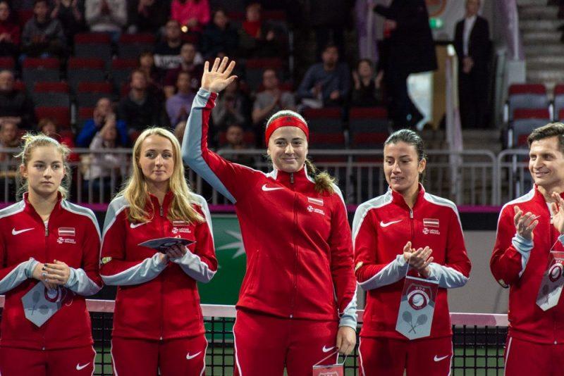 Latvijas sieviešu tenisa izlase Federāciju kausa spēlēs pret Slovākiju.