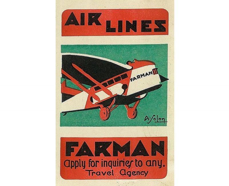 """""""Lignes Aériennes Farman"""" plakāts."""