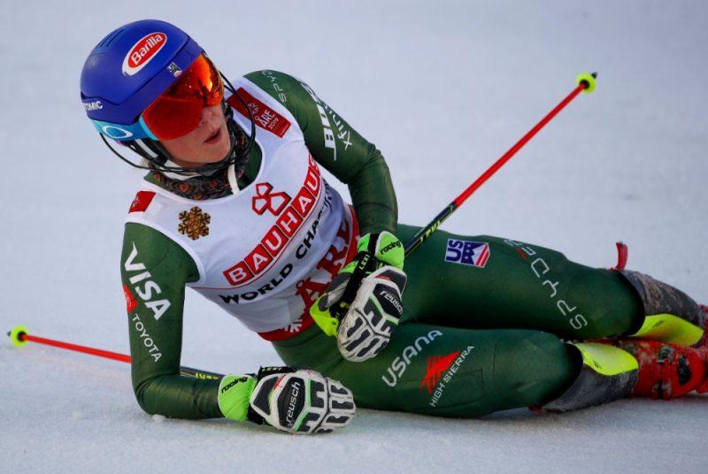 Mikaēla Šifrina pēc finiša pasaules čempionātā slaloma disciplīnā.