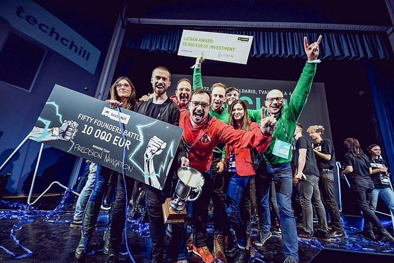 """Uzvaras laurus plūca igauņu """"Precision Navigation Systems"""", kas ieguva galveno balvu – 10 000 eiro finansējumu no """"TechChill Foundation""""."""