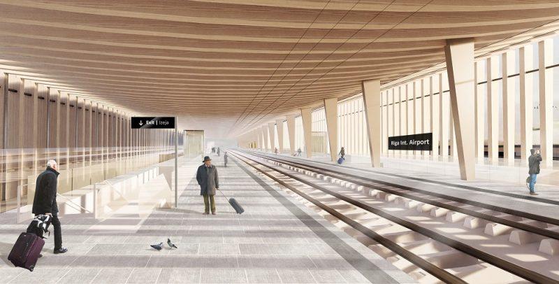 """Rail Baltica"" trases ""RIX"" stacijas skice."