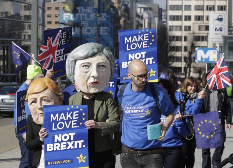 Akcija Briselē pirms Eiropas Savienības samita par breksitu