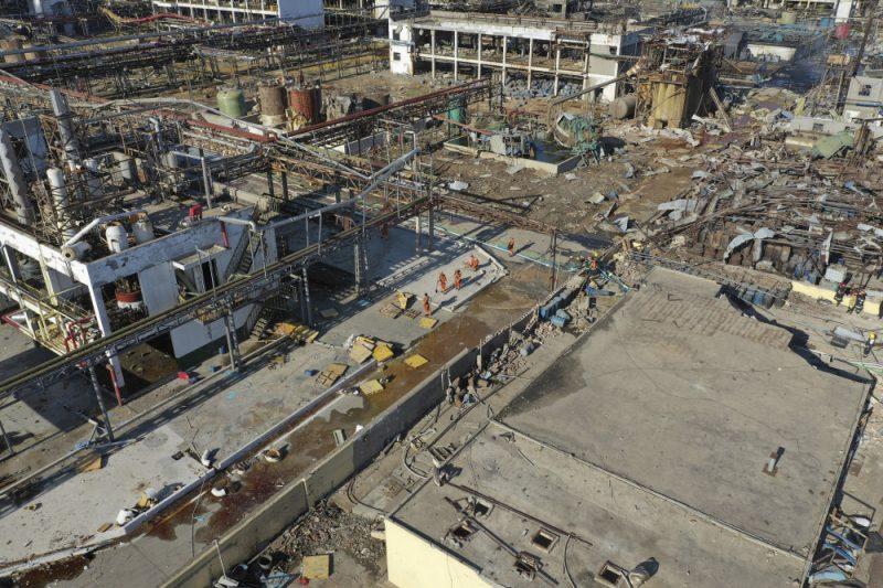 Ķīmiskās rūpnīcas teritorija pēc sprādziena