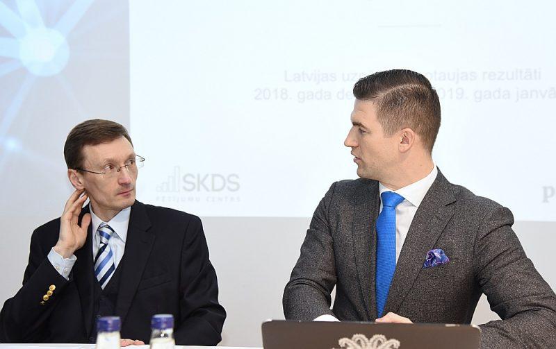 """Latvijas uzņēmumiem lielākās grūtības sagādā nodrošināt datu regulas prasības klientu un sadarbības partneru datu apstrādē, secina Socioloģisko pētījumu centra SKSD direktors Arnis Kaktiņš (no kreisās) un SIA """"Protectum"""" valdes priekšsēdētājs Zigmunds Vīķis."""