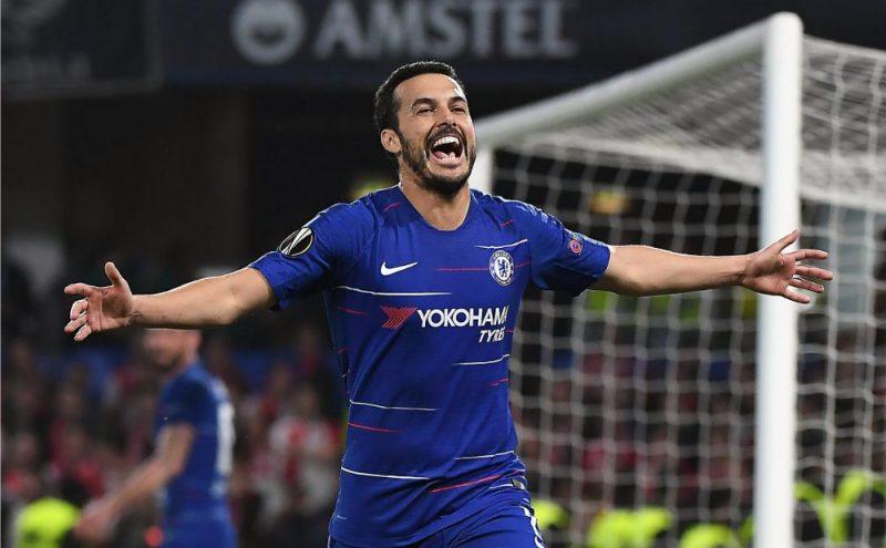 """Londonas """"Chelsea"""" futbolists Pedro Rodrigess pēc gūtajiem vārtiem."""