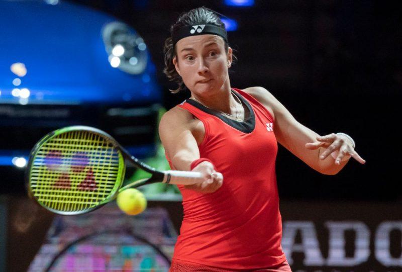 Anastasija Sevastova Štutgartes tenisa turnīra otrās kārtas spēlē.