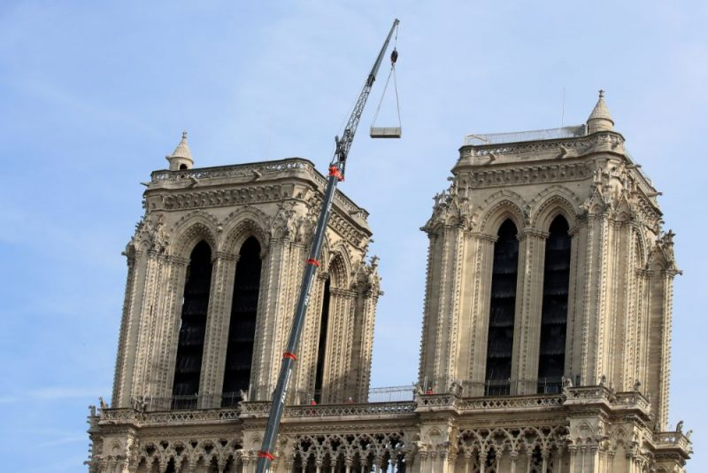 Parīzes Dievmātes katedrāle pēc ugunsgrēka, 18.04.2019.