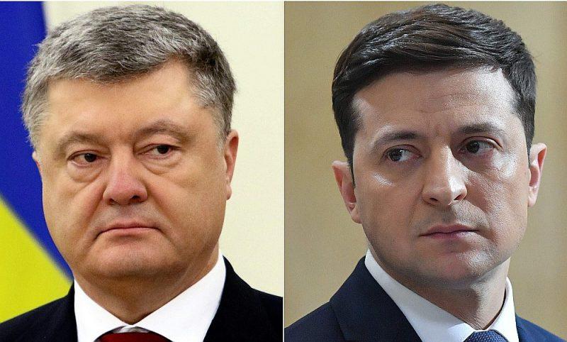 Ukrainas prezidenta vēlēšanu otrajā kārtā 21. aprīlī sacentīsies pašreizējais valsts vadītājs Petro Porošenko (no kreisās) un aktieris komiķis Volodimirs Zeļenskis.