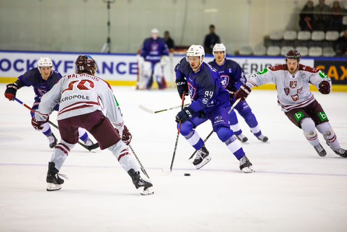 Latvijas un Francijas hokeja izlašu spēle.