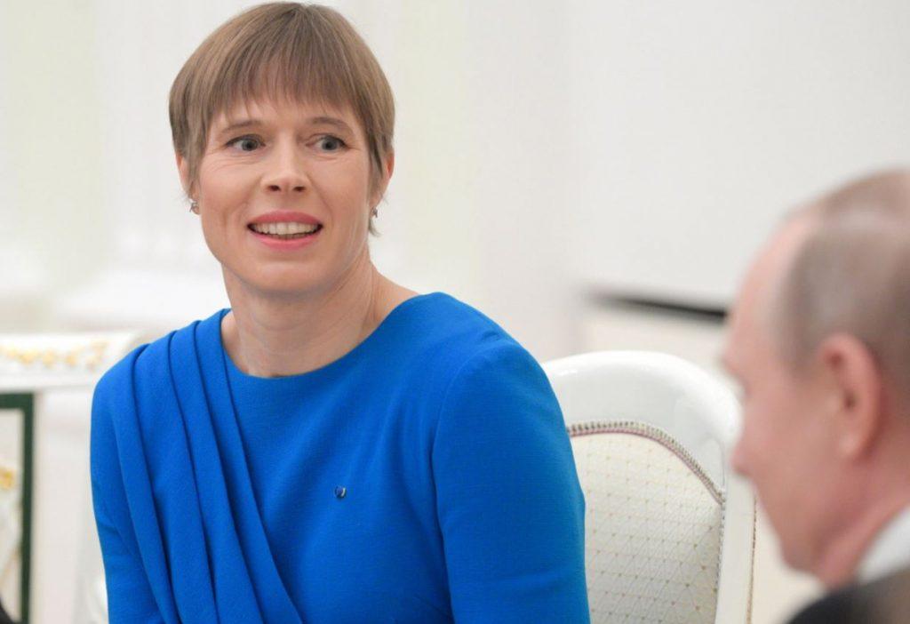 Igaunijas prezidente Kersti Kaljulaida 2019. gada aprīlī vizītes laikā Maskavā.