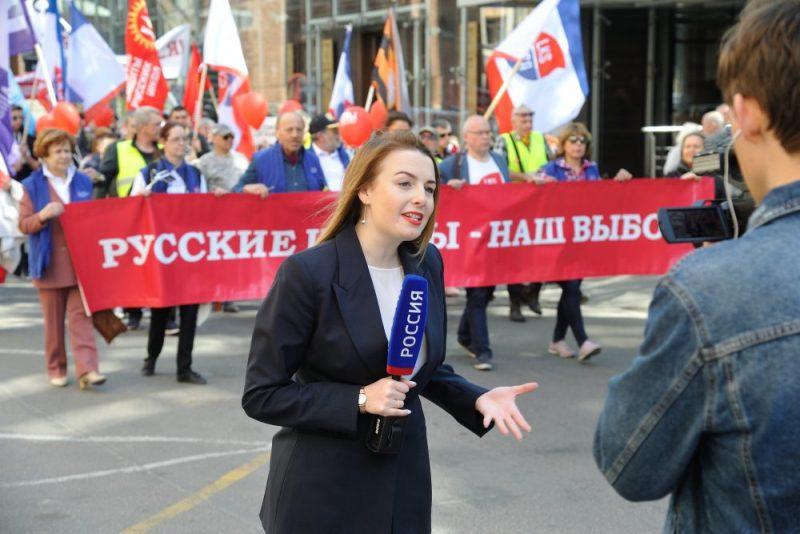 Latvijas Krievu savienības organizēto protestu pret pāreju uz latviešu valodu mazākumtautību skolās plaši atspoguļoja Krievijas televīzijas kanāli.
