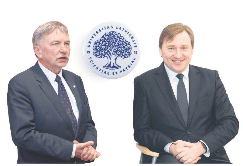 Latvijas Universitātes rektors Indriķis Muižnieks (no kreisās) un Biznesa, vadības un ekonomikas fakultātes dekāns Gundars Bērziņš sacentīsies par to, kurš vadīs LU nākamos piecus gadus.