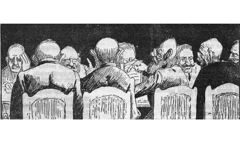 """RLB Zinību komisijas sēde. Karikatūra 1915. gada satīras žurnālā """"Lietuvēns""""."""