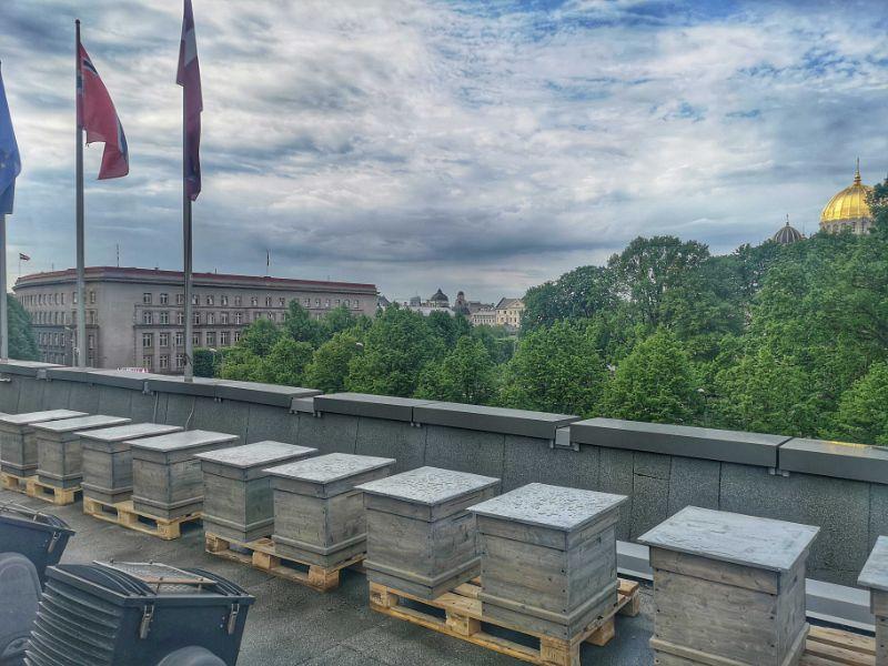 """Stropi uz """"Radisson Blu"""" viesnīcas jumta."""