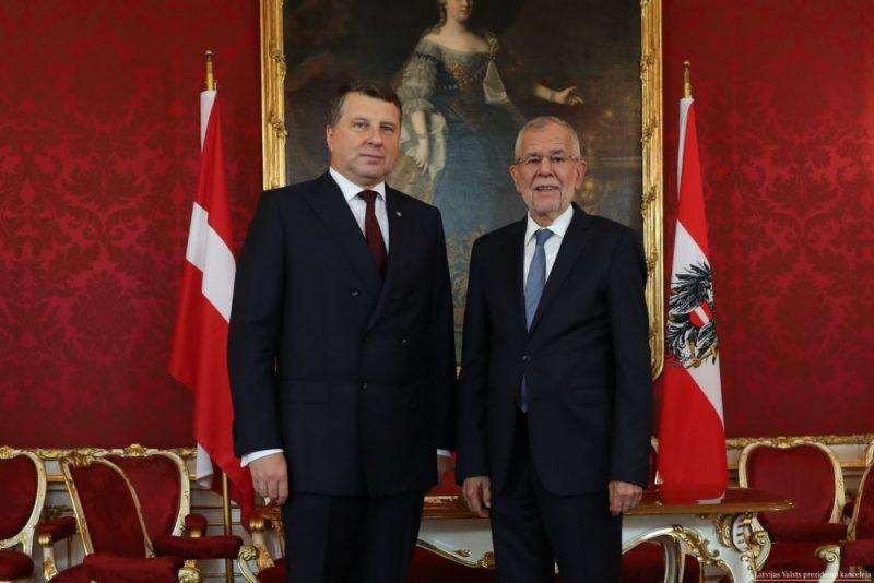 Valsts prezidents Raimonds Vējonis vizītē Vīnē tiekas  ar Austrijas prezidentu Aleksandru van der Bellenu, 27..05.2019.