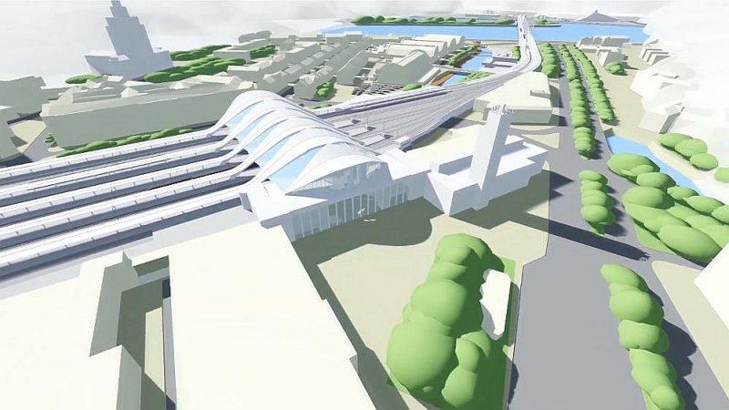 """Tā izskatīsies Centrālā stacija Rīgā pēc """"Rail Baltica"""" projekta īstenošanas."""