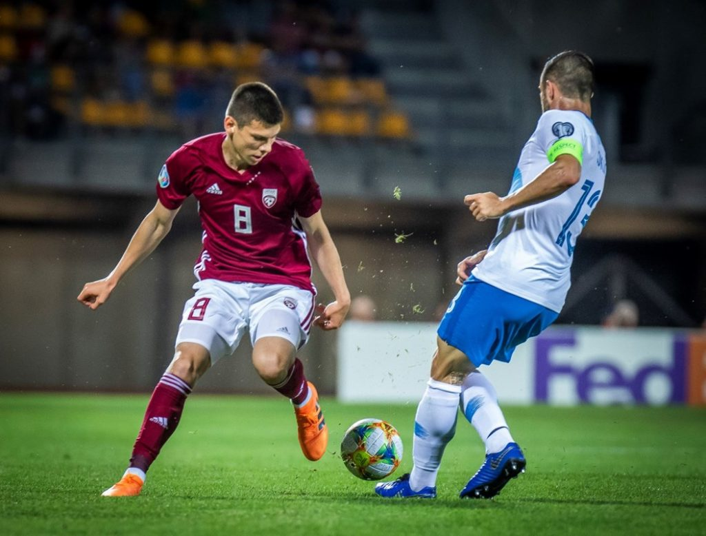 Daniel Ontuzan (left) makes his Latvian debut.