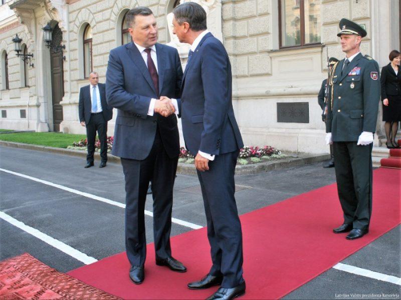 Valsts prezidents Raimonds Vējonis tikas ar Slovēnijas prezidentu Borutu Pahoru, 05.06.2019.