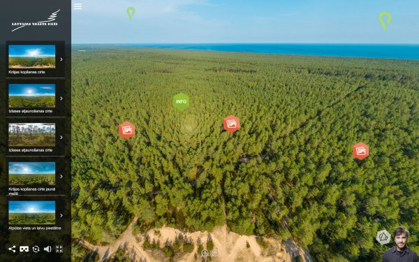 """Rojas dabas takas virtuālos skatu torņus LVM izveidoja sadarbībā ar virtuālās realitātes studiju """"Ocean Multimedia"""". Šis ir viens no pirmajiem šāda veida papildinātās realitātes projektiem Latvijā."""