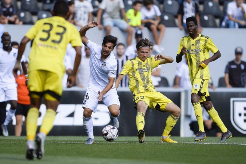 """""""Guimaraes"""" pret FK """"Ventspils"""" UEFA Eiropas līgas kvalifikācijā."""