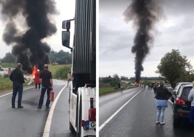 Uz Liepājas šosejas Durbes novadā notikusi traģiska divu kravas auto sadursme, gājuši bojā divi cilvēki, 08.08.2019.