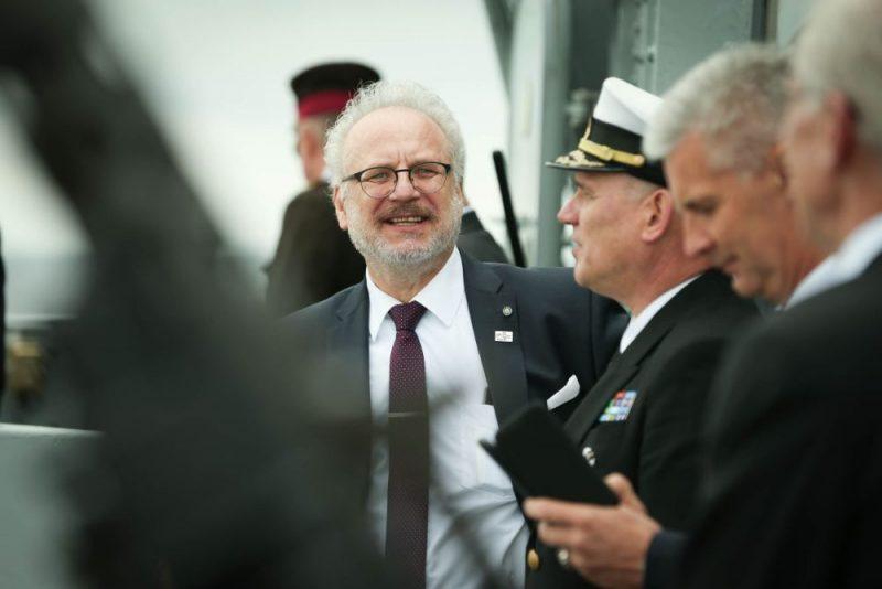 Militāro kuģu parāde Rīgas jūras līcī, atzīmējot Latvijas armijas Kara flotes simtgadi. Piedalās arī Valsts prezidents Egils Levits, 09.08.2019.