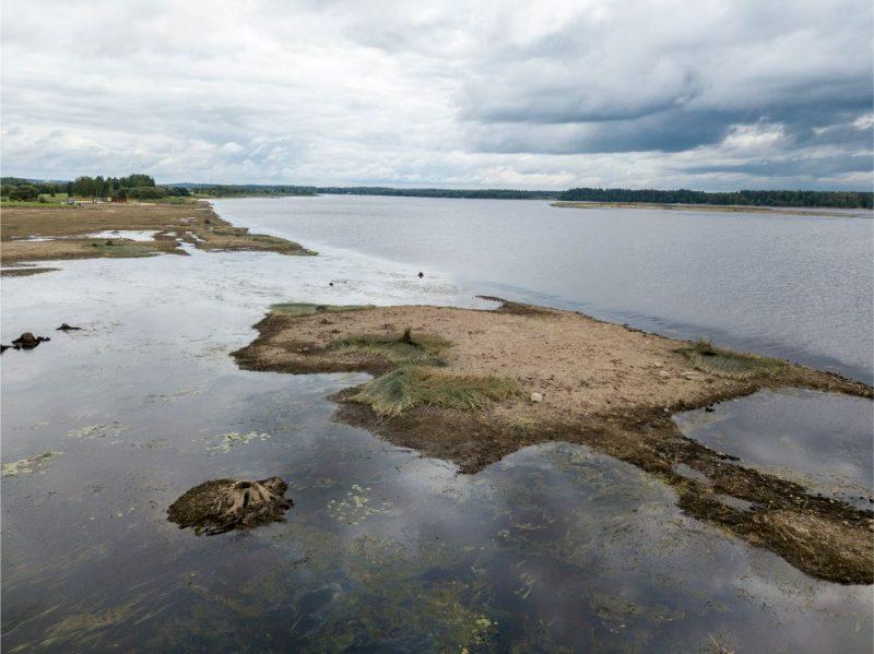 Daugavas gultne pie Svētā Meinarda salas Ikšķilē, kad Rīgas HES pazemina ūdens līmeni.