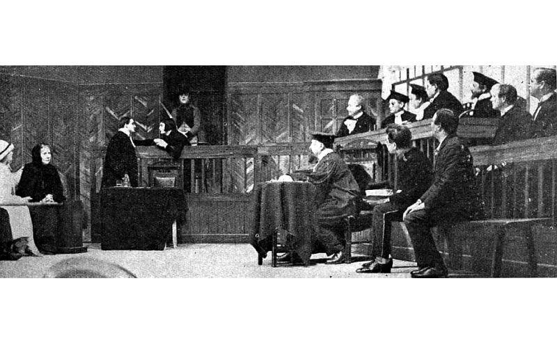 """Aina no 1926. gadā uzvestās A. Pišona drāmas """"Nepazīstamā""""."""