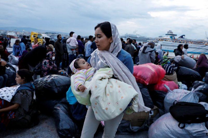 Patvēruma meklētāji Grieķijā.