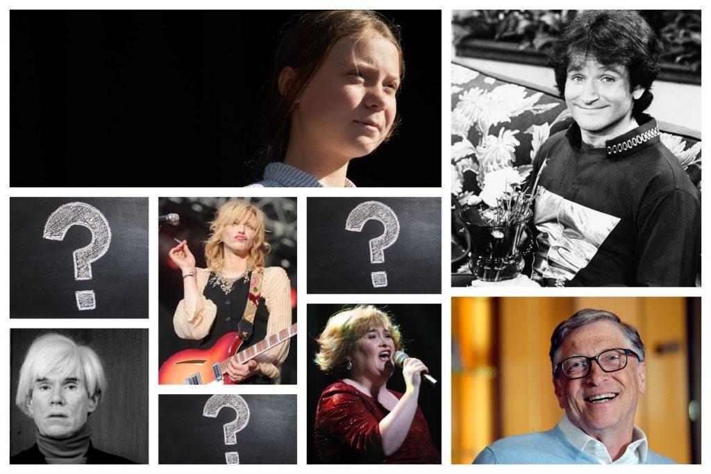 """Attēlā: augšējā kreisajā stūrī klimata aktīviste Grēta Tūnberga, labajā stūrī aktieris Robins Viljams, kreisajā apakšējā stūrī mākslinieks Endijs Vorhols, pa vidu dziedātāja, grupas """"Nirvana"""" solista Kurta Kobeina sieva Kortnija Lova, turpat dziedātāja Sjūzena Boila un apakšējā labajā stūrī """"Microsoft"""" dibinātājs Bils Geits."""