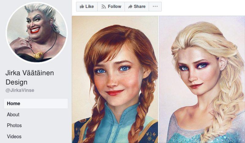 """Jūras ragana Urzula, kā arī māsas Anna un Elza no animācijas filmas """"Ledus sirds""""."""