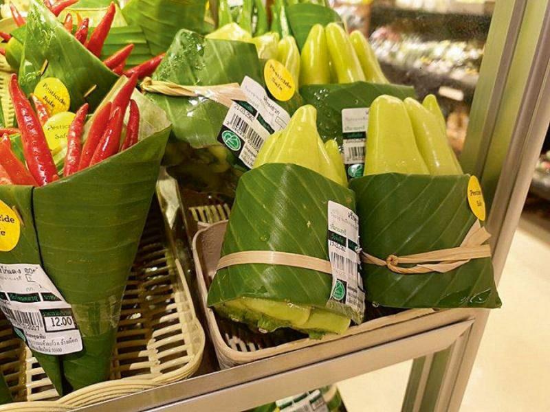 Banānu lapas kā ekoiepakojums.