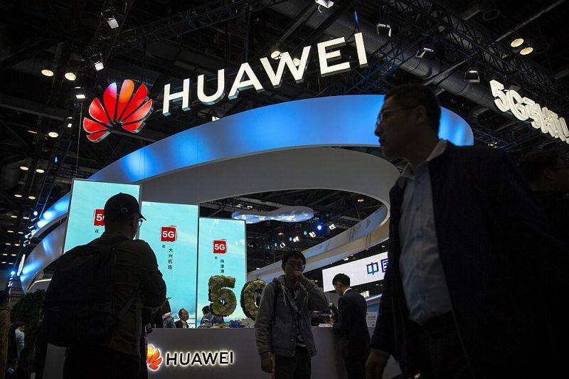 """5G pakalpojumu centrs """"Huawei"""" stendā """"PT Expo"""" izstādē Pekinā oktobra beigās."""