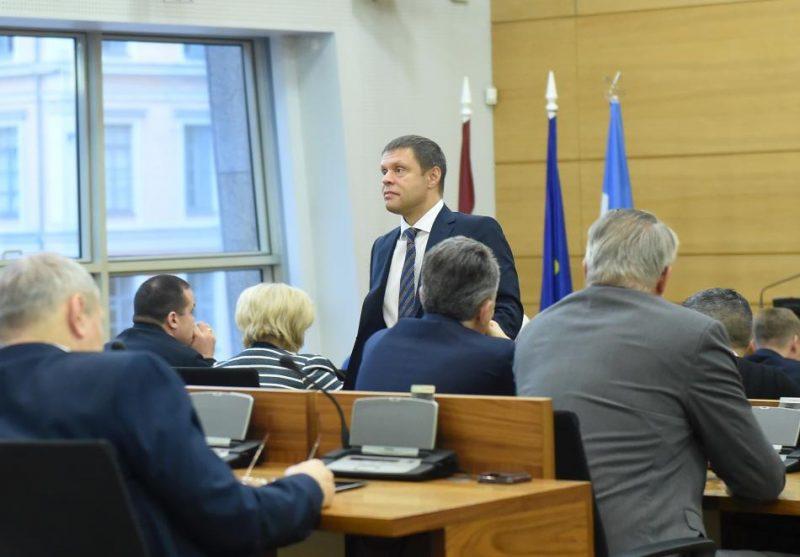 Rīgas domes priekšsēdētāja vietnieks Vadims Baraņņiks Rīgas domes ārkārtas sēdes laikā, kurā viņš tika atstādināts no vicemēra amata.