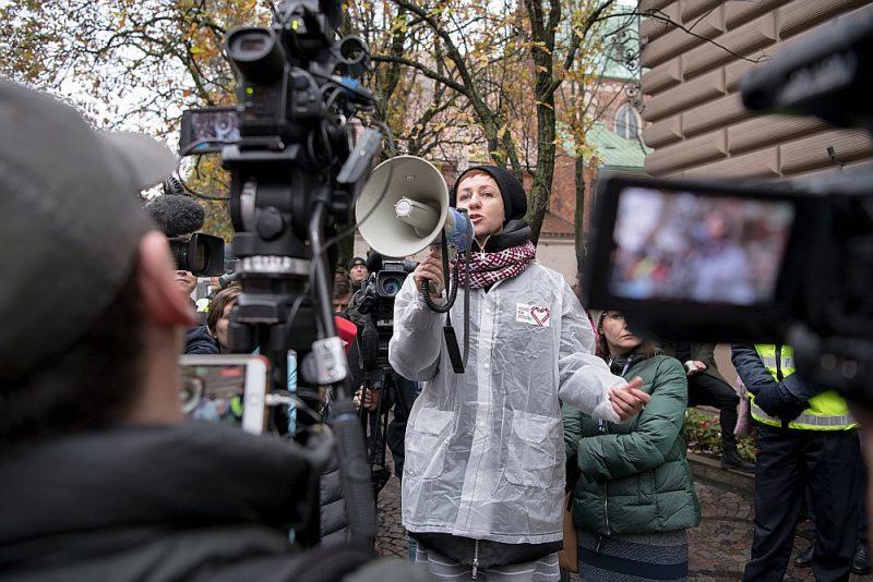 Mediķu protesta akcija pie Saeimas šā gada 7. novembrī.