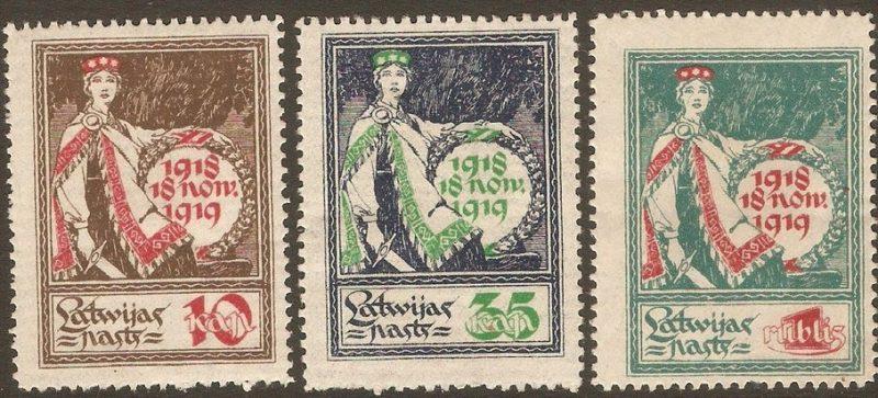 Latvijas gada jubilejai veltītā pastmarka.