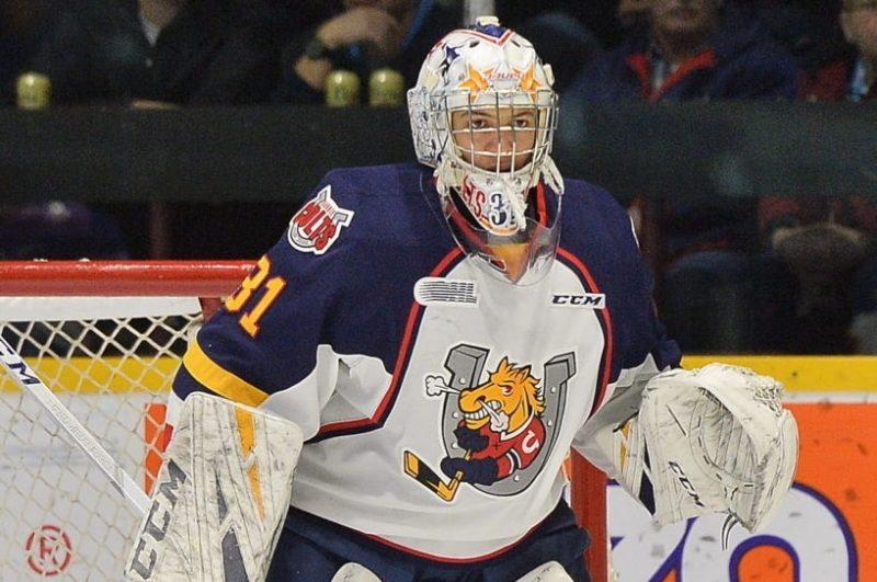 """Artūrs Šilpvs kļuvis par """"Barrie Colt"""" pirmo vārtsargu Ontario hokeja līgā un nevarēs palīdzēt Latvijas U-20 izlasei pasaules čempionātā Minskā."""