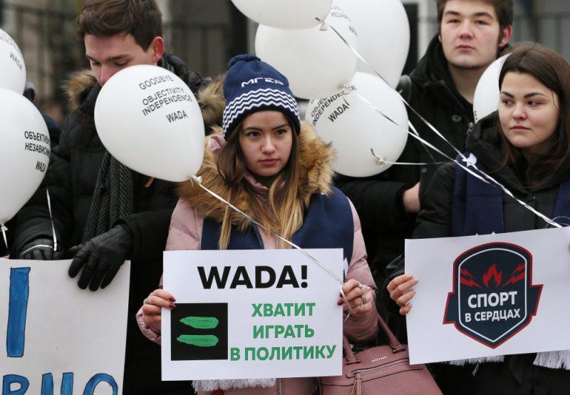 Protesta mītiņš Maskavā  pret WADA piešķirtajām sankcijām.