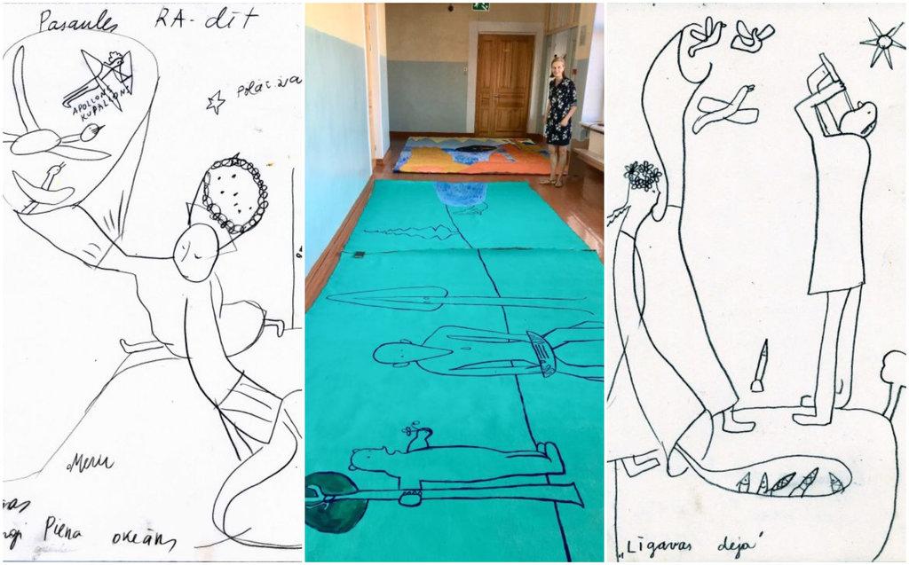 """Aijas Zariņas skices gleznai """"Pasaules radīšana"""" (malās), māksliniece pie darba """"Veinemeinens dzied"""" (vidū)."""