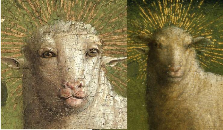Van Eiku glezna pirms restaurācijas (labajā pusē) un pēc tās.