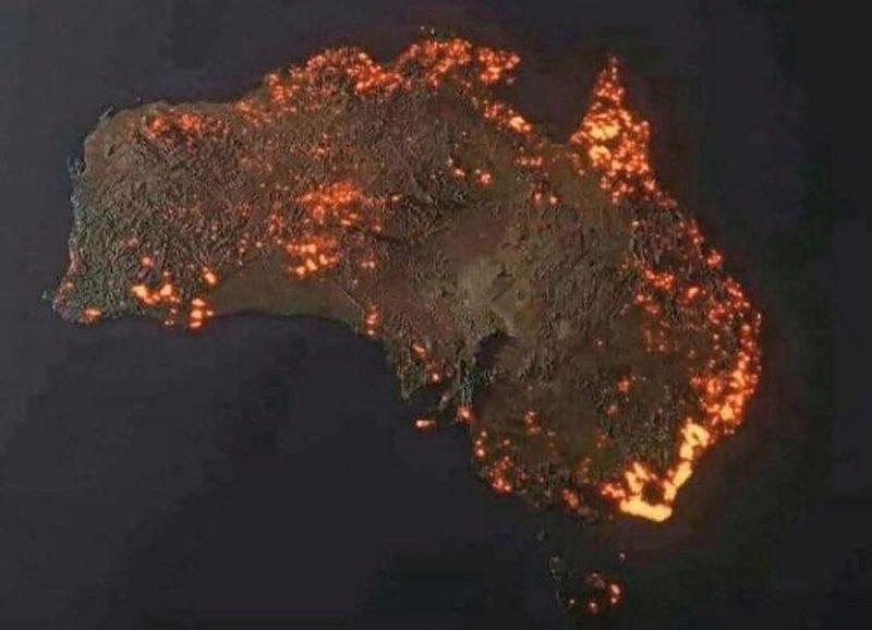 Ugunsgrēku zonu 3D attēls, ko uz NASA sniegto ziņu pamata izveidojis Entonijs Hersijs.