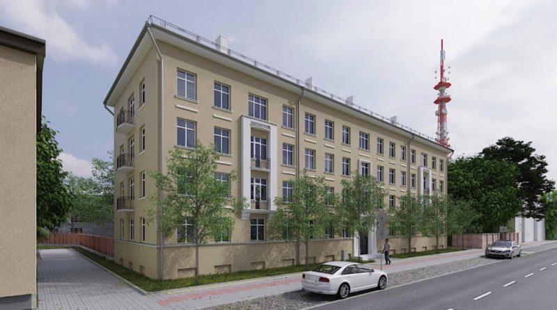 """Liepājā ēka Celtnieku ielā 12, kas ilgus gadus bija neapsaimniekota, tiks attīstīta par jaunu dzīvokļu projektu """"Rietumu apartamenti""""."""