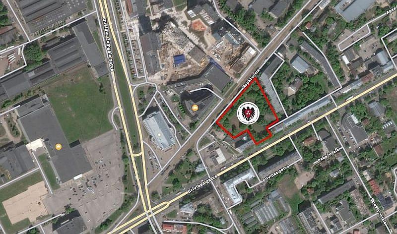 Vieta, kur iecerēta jaunā VDD ēka.