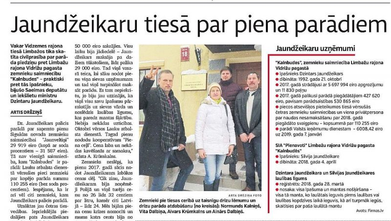 """""""Latvijas Avīze"""" pērn 8. februārī jau rakstīja par zemniekiem, kas vērsušies tiesā pret Limbažu novada zemnieku saimniecību """"Kalnbudes""""."""