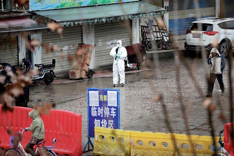 Zivju tirgus Uhaņā, kas tika slēgts pēc vīrusa uzliesmojuma.