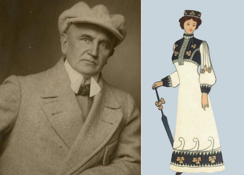 """Ir izgatavota un tiks prezentēta kleita un vainadziņš pēc mākslinieka 1904. gada zīmējumiem, ko viņš pats raksturojis kā """"tautisku tērpu modernā garšā""""."""