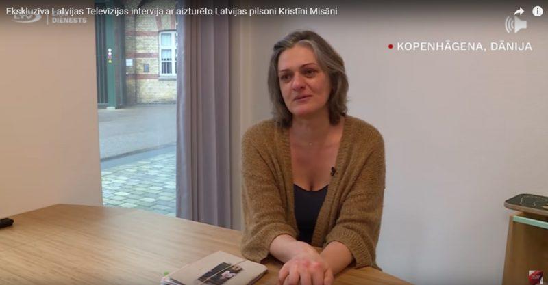 Kristīne Misāne intervijas laikā ar LTV Ziņu dienestu cietumā Dānijā, Kopenhāgenā.