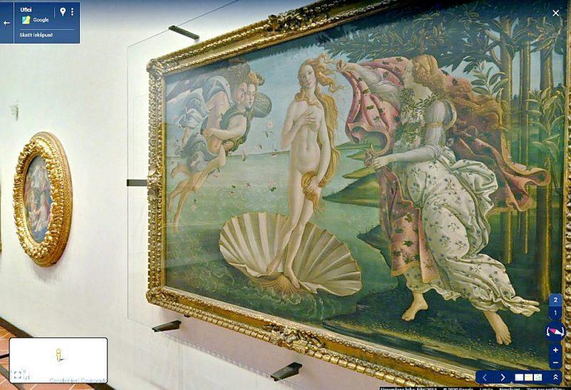 """Virtuālajā tūrē pa Ufici galeriju Florencē iespējams apmeklēt arī itāļu renesanses dižgara Sandro Botičelli (Sandro Botticelli, 1445–1510) ekspozīciju, kuras centrā atrodas viņa slavenā glezna """"Veneras dzimšana"""" (1485), kas tika gleznota pēc Lorenco di Pjērfrančesko no Mediči dzimtas pasūtījuma."""